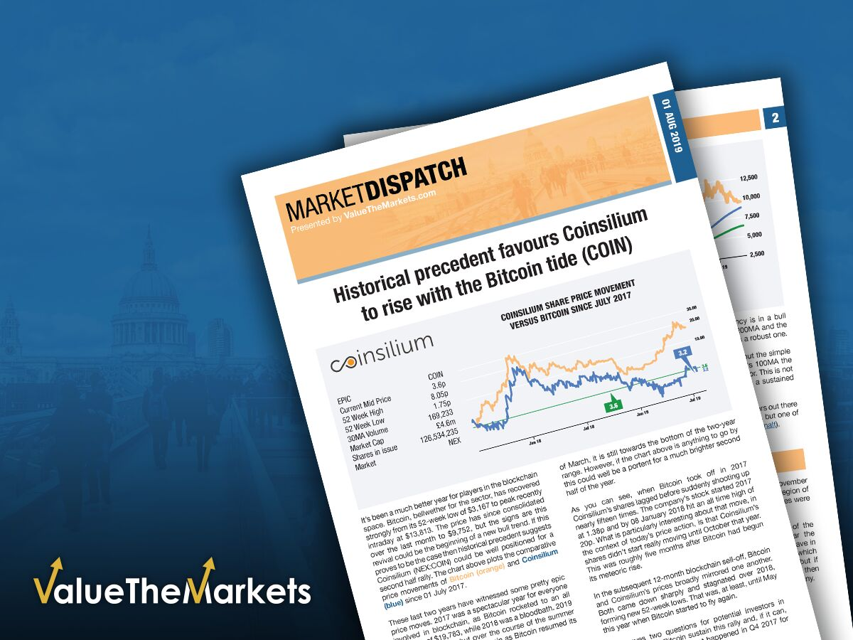 VTM Market Dispatch – Historical precedent favours Coinsilium to rise with the Bitcoin tide (COIN)
