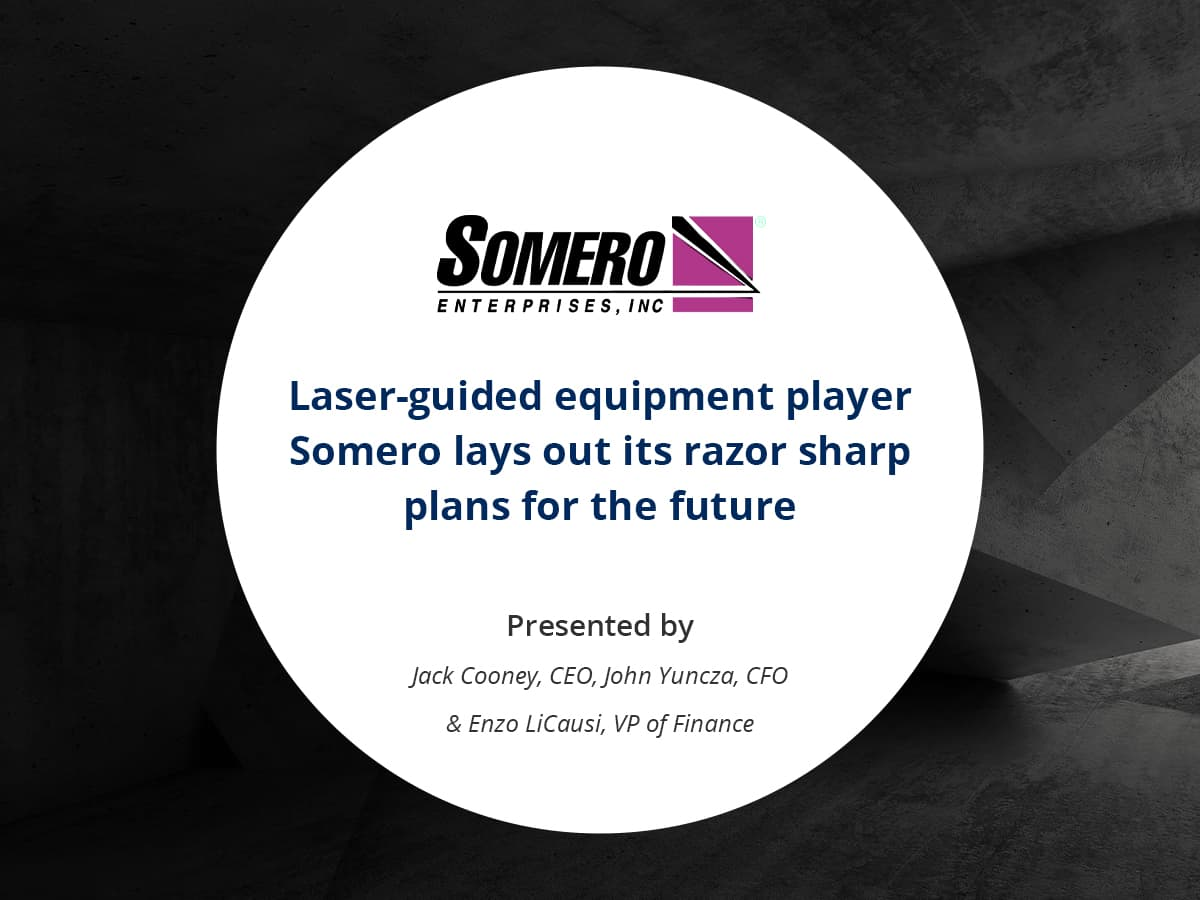 VIDEO: Laser-guided equipment player Somero lays out its razor sharp plans for the future