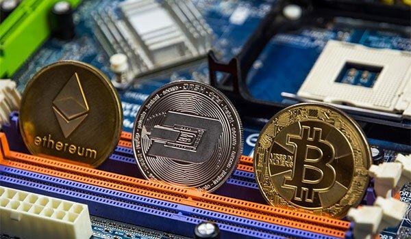 Crypto Crash 2021 Bitcoin, Etherium, Dash coin and motherboard